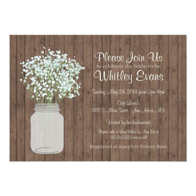 Rustic Mason Jar Bridal Shower Invitation on Wood