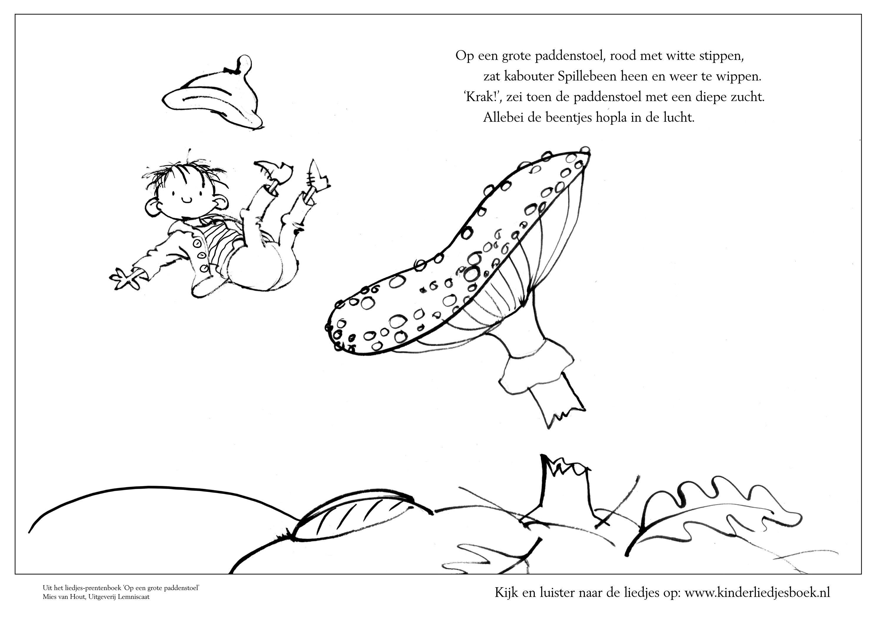 Kinderliedje Op Een Grote Paddestoel Met Kleurplaat Dutch Mushroom Nursery Rhyme And Coloringpage Herfst Herfst Halloween Herfst Knutselen