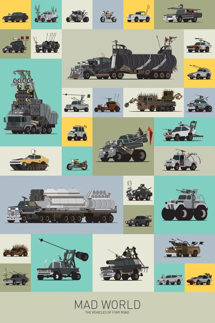 Mad Max Vehicle Poster Mad World The Vehicles Of Fury Road