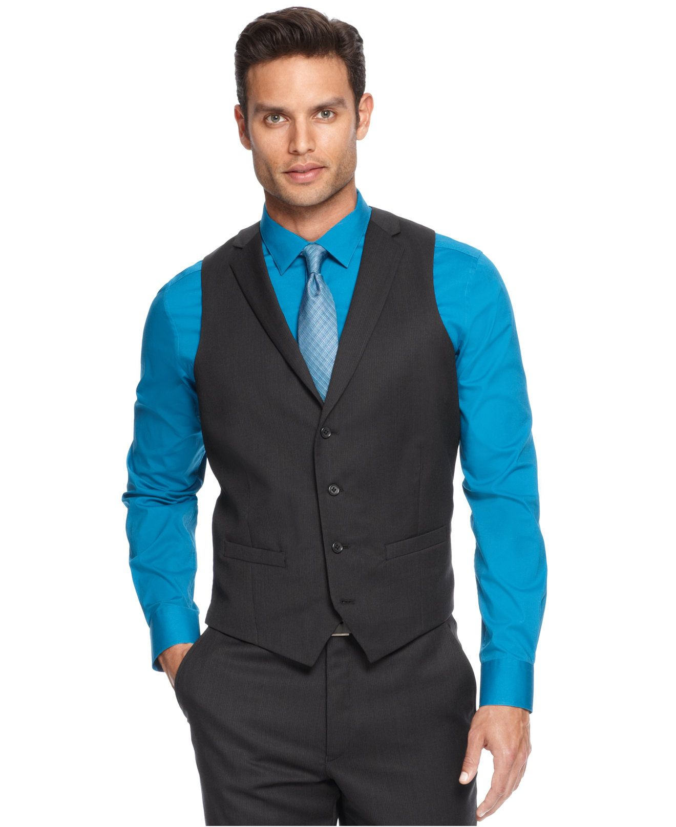 Blue dress shirt and black vest | Blue Fashion hits