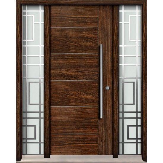Exterior Fiberglass Door Single Door With Two Full Glass Sidelights