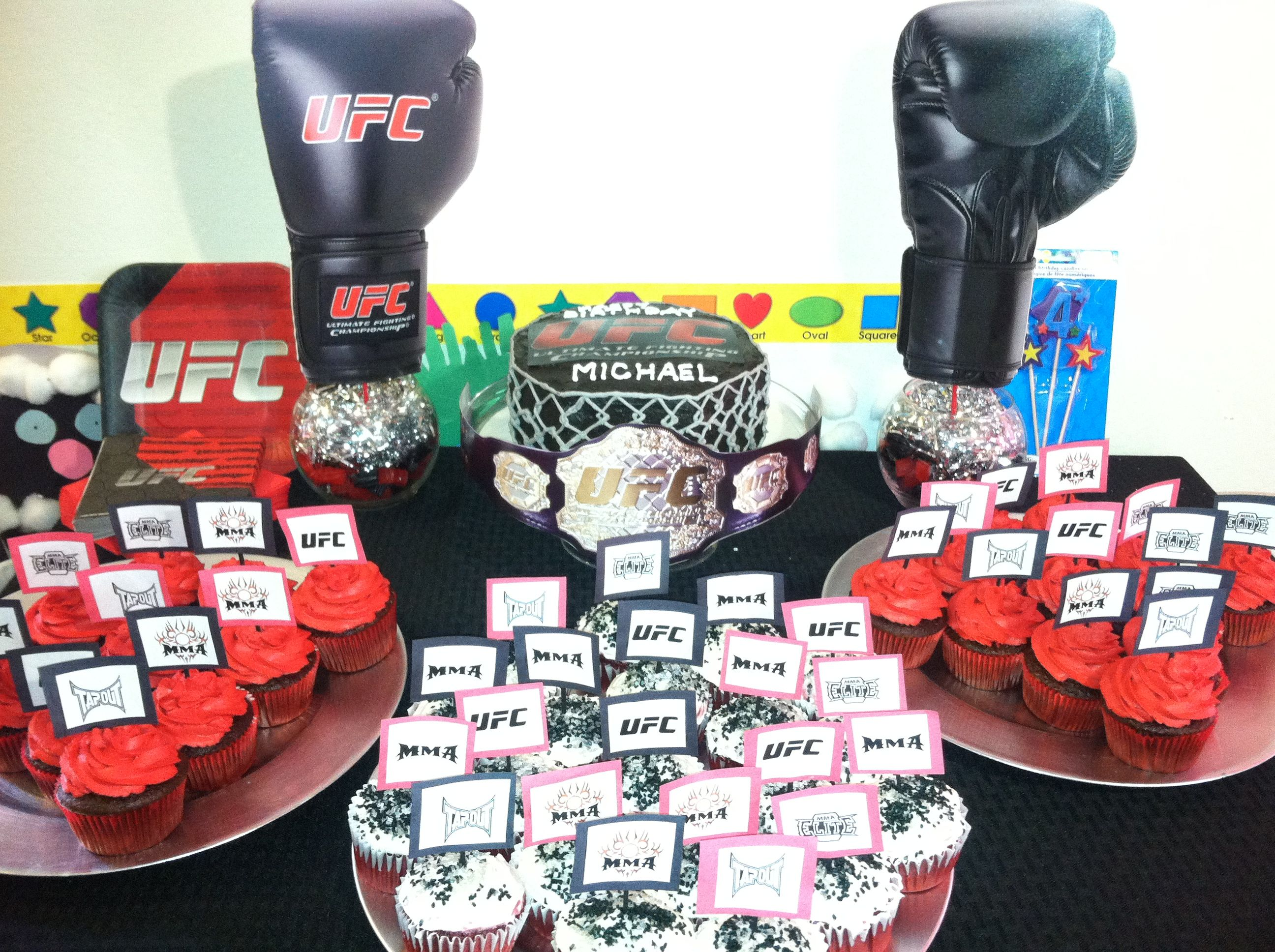 Ufc Cake Table And Cupcakes Ordered An Octagon Shaped