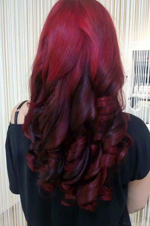 long colored hair tumblr red hair #long hair #curly hair #dark red ...
