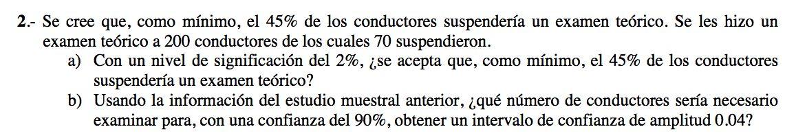 Ejercicio 2A 2008-2009 JUNIO. Contraste de hipótesis.  Pau de matemática para ciencias sociales, Canarias.