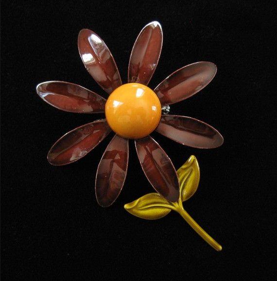 Flower Power 60er Jahre Emaille auf Kupfer Brosche von Elsewind