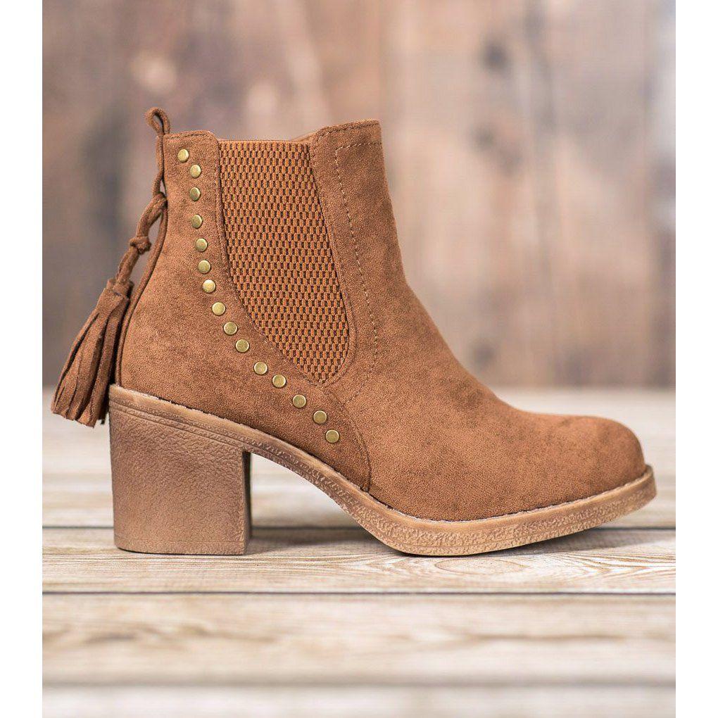 Small Swan Sztyblety Z Fredzlami Brazowe Jodhpur Boots Boots Boot Shoes Women