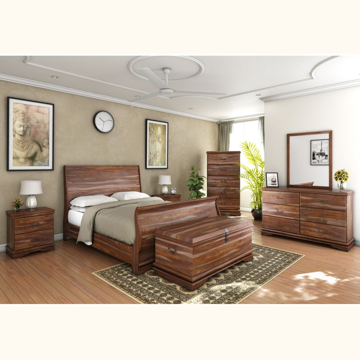 Sleigh back piece bedroom collection solid wood platform bed