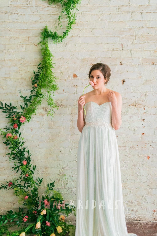 Modern romantic mint green sweetheart pleated tulle wedding