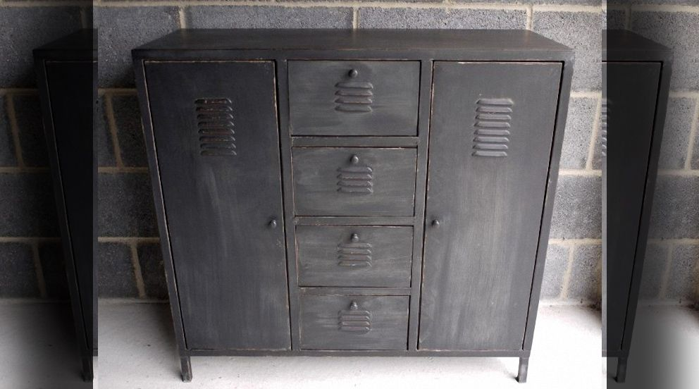 armoire m tallique style industriel finition noir ancien meubles pinterest armoires. Black Bedroom Furniture Sets. Home Design Ideas