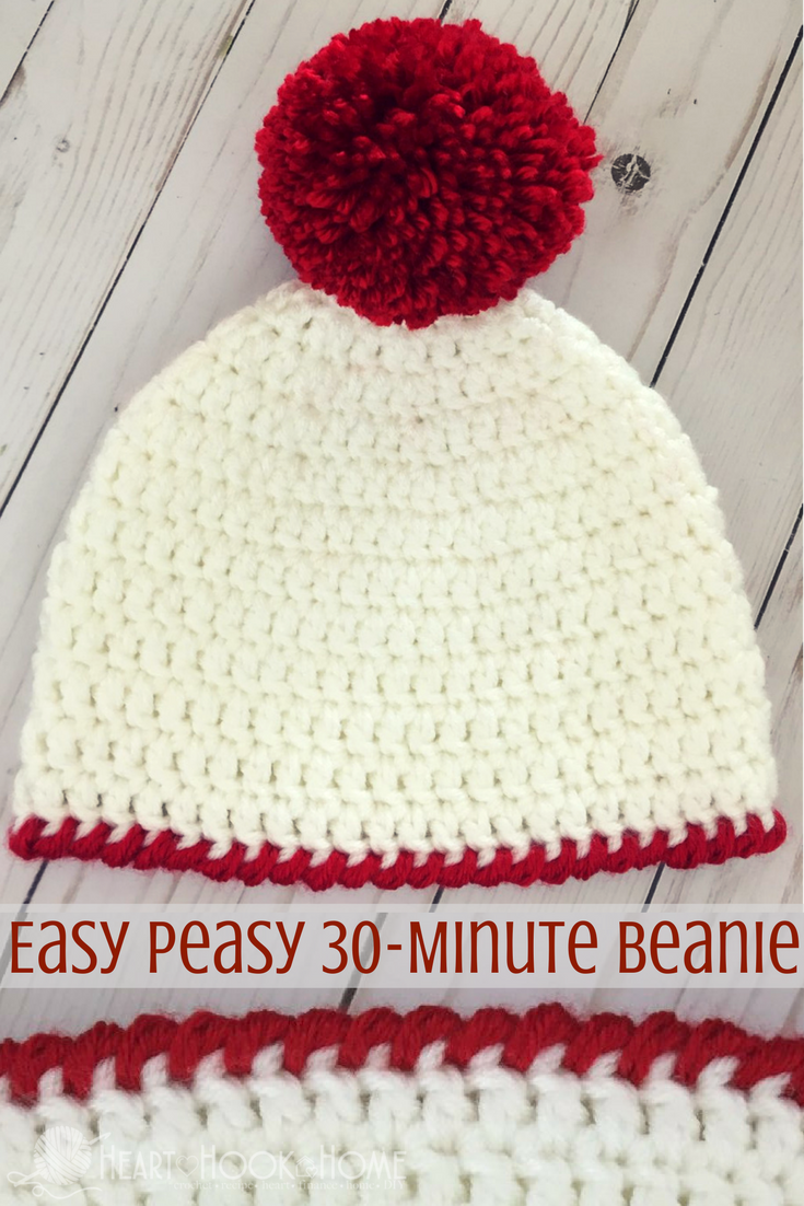 Easy peasy minute beanie free crochet pattern crocheting