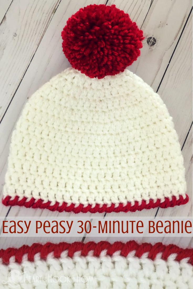 Easy Peasy 30-Minute Beanie Free Crochet Pattern | Minuto, Ganchillo ...