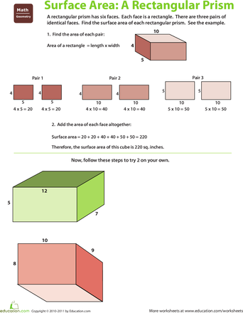 Find The Surface Area Rectangular Prism Math Surface Area