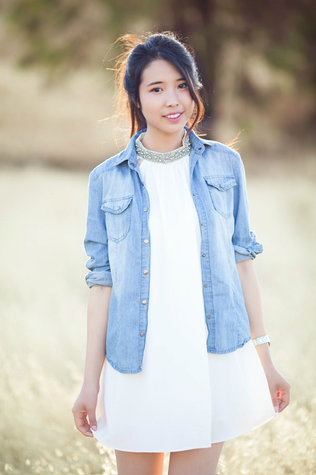 b055c585ab ally gong tobi photoshoot white chiffon dress blue denim shirt asian girl  model fashion blogger bay