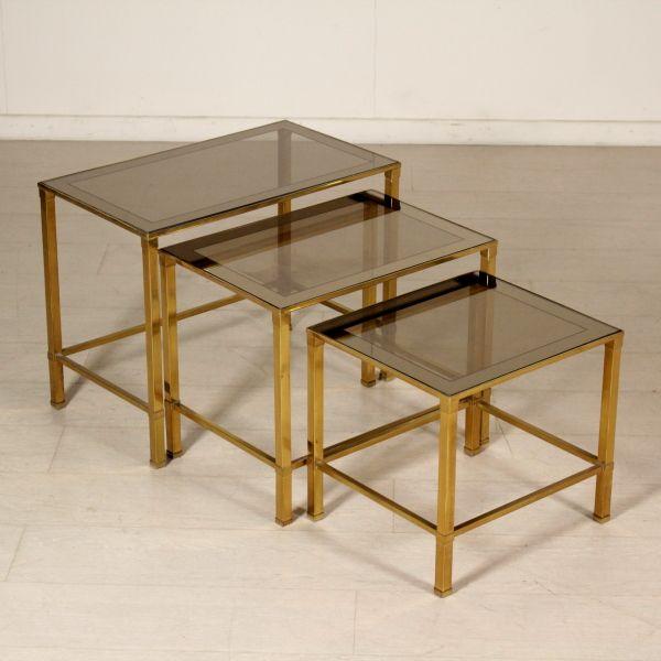 Tavolino Cristallo Ottone.Tris Di Tavolini In Ottone E Vetro Modernariato Design