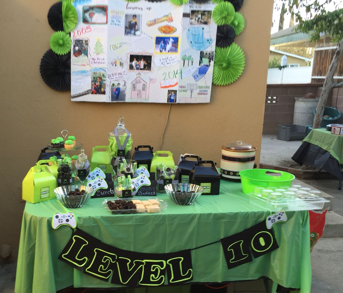 Classroom Decoration Ideas Xbox One ~ Level candy buffet table xbox party