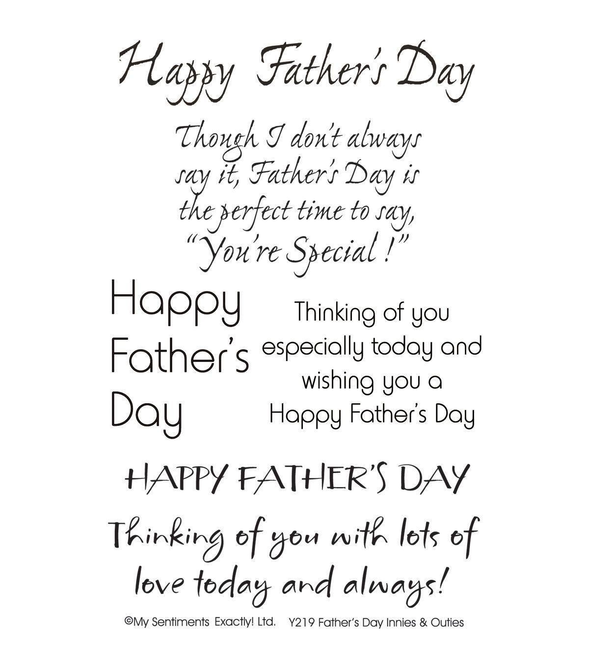 Small Happy Fathers Day Greeting Rubber Stamp by DRS Designs Rubber Stamps