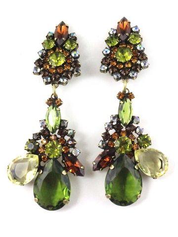1960 S Unsigned Amber Chandelier Earrings By House Of Lavande F