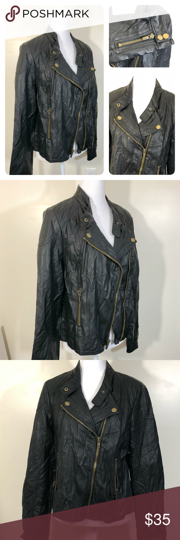 Women's Black Rivet LARGE faux leather jacket ⬇️ Faux