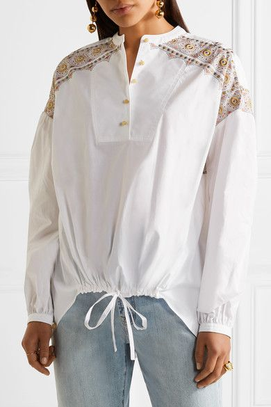 Nicekicks For Sale Cheap Sale Official Jayne Embroidered Cotton-poplin Blouse - White Tory Burch W2mIeucYr