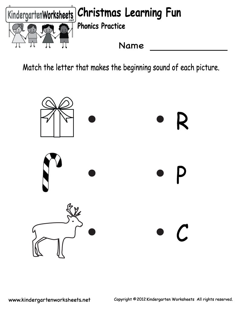 Kindergarten Christmas Phonics Worksheet Printable | Jax school ...