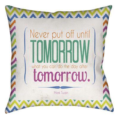 "Manual Woodworkers & Weavers Tomorrow Sdgraphics Studio Sundance Printed Throw Pillow Size: 18"" H x 18"" W x 5"" D"