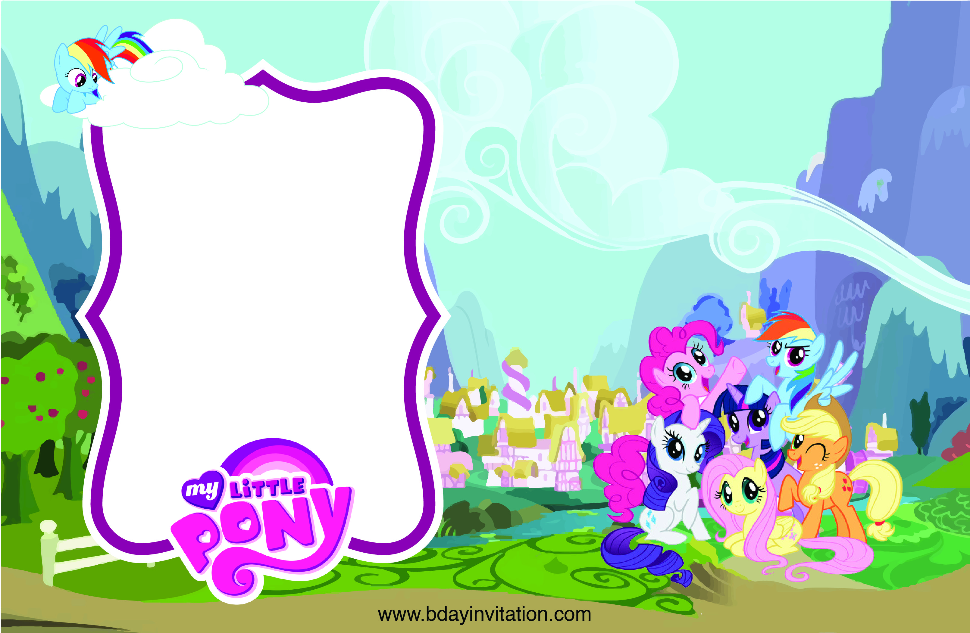 Get FREE Printable My Little Pony Birthday Invitation Template