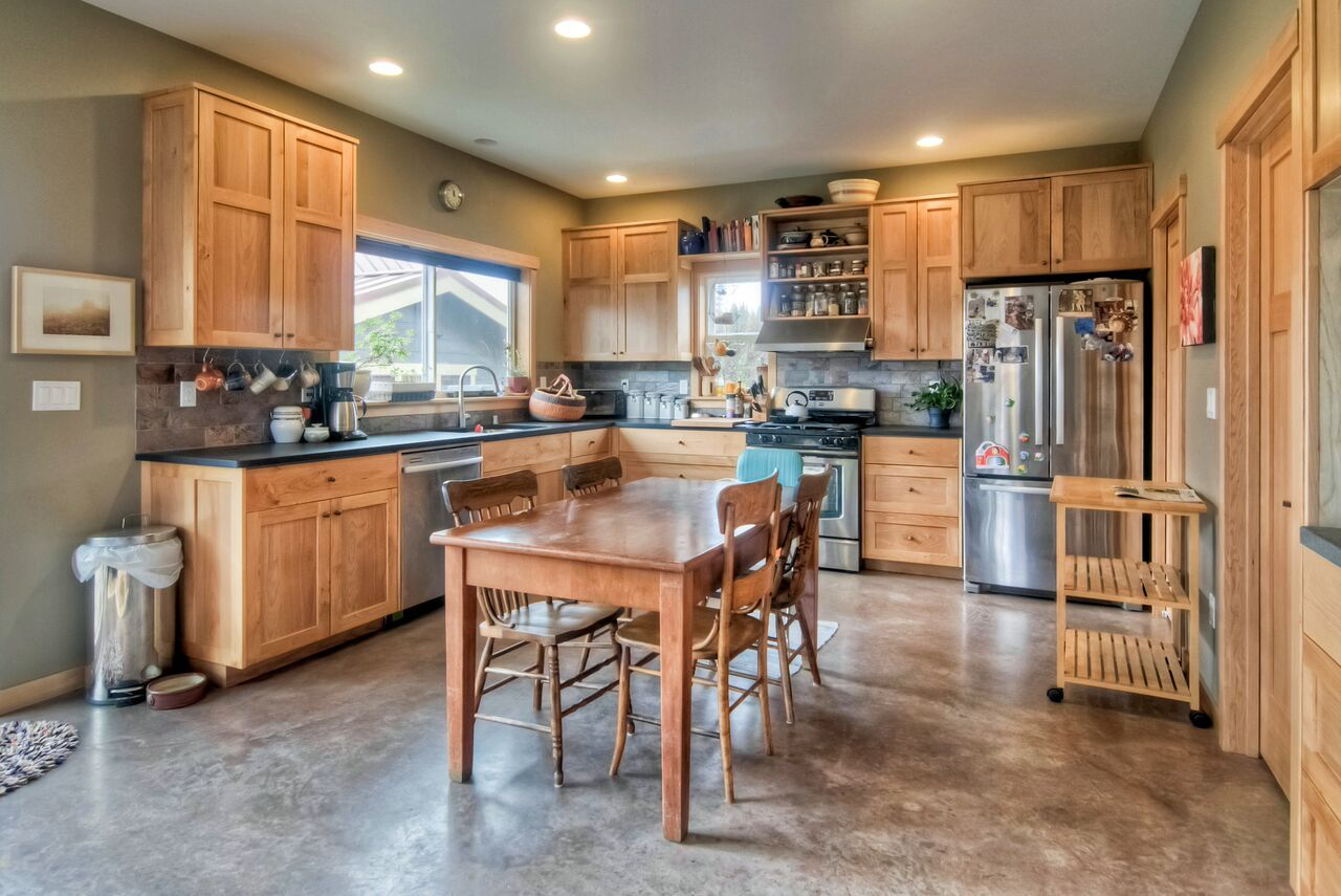 Concrete Kitchen Floor with Maple Cabinets | Stained ...