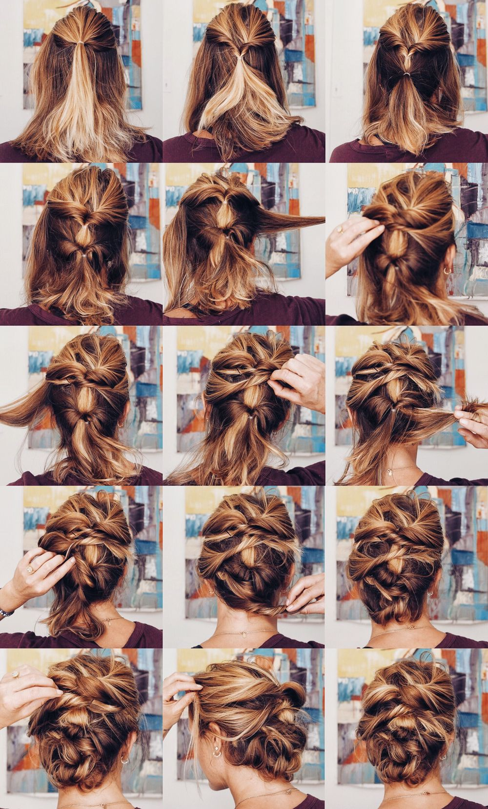 Quick Messy Updo Lob Hairstyle Lob Styling Hair Styles