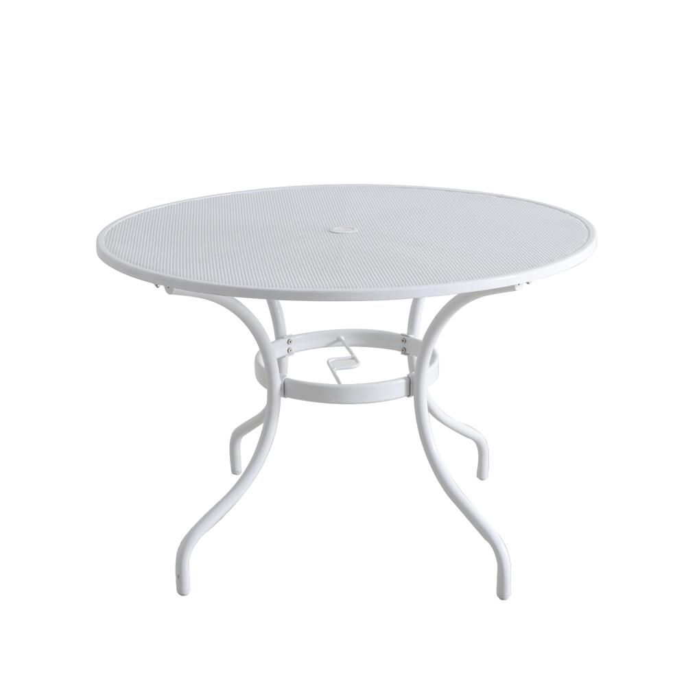 Stylewell 42 In Mix And Match Lattice White Mesh Metal Round Outdoor Patio Dining Table Fts60704 W The Home Depot Patio Dining Table White Outdoor Table Outdoor Dining Table White round patio table
