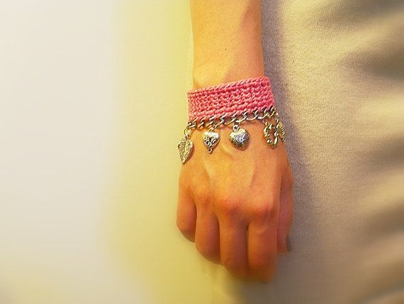 Crochet Charm Bracelet Handmade Candy Pink Heart by JustColor, $34.00