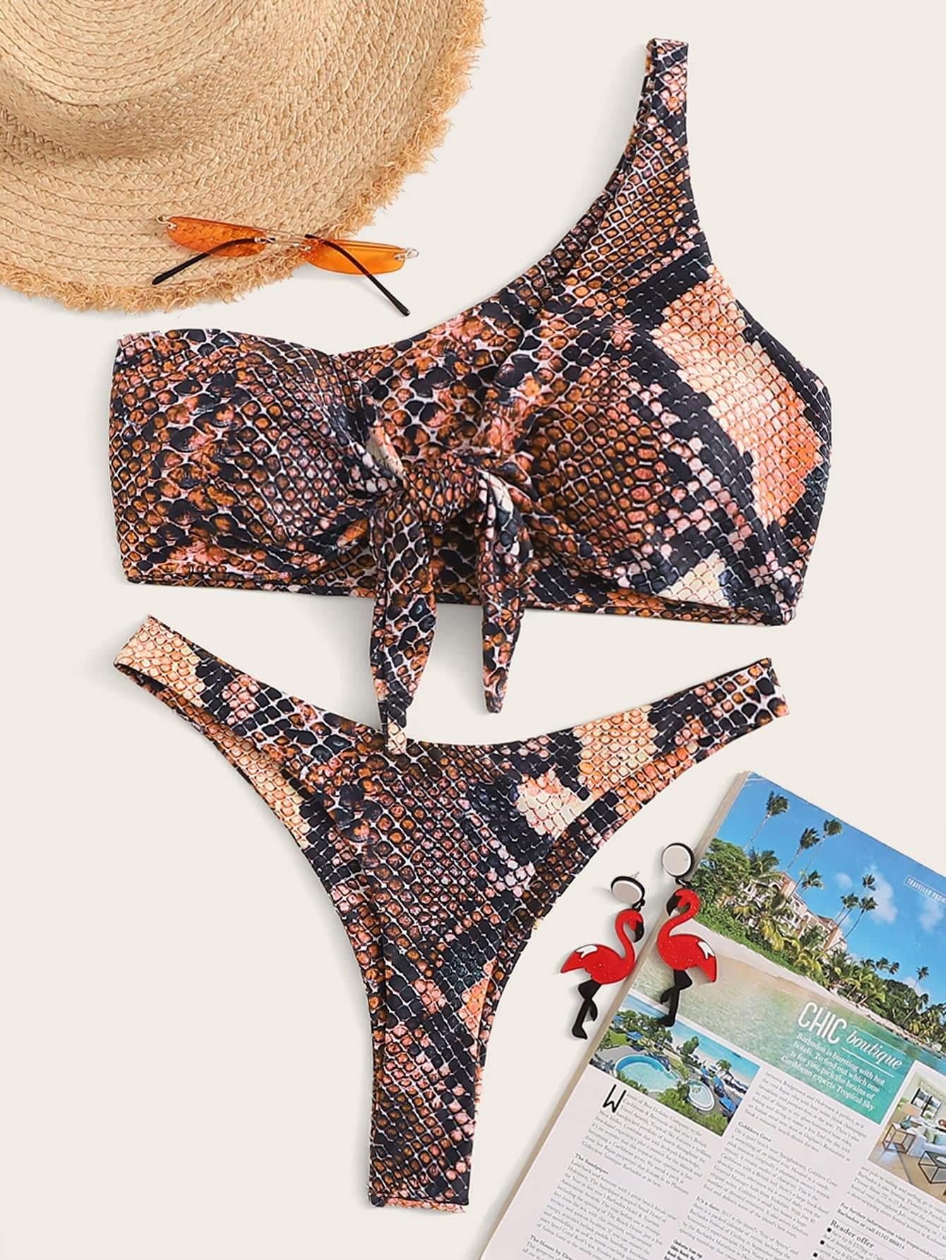 3f3f5153d0f3 Snakeskin One Shoulder Top With High Cut Bikini - Popviva #swimwear  #sportswear #monokini