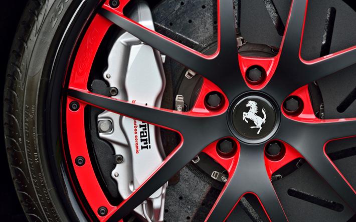 壁紙をダウンロードする フェラーリの車輪, 4k, ブレーキ, キャリパー, 2018両, ディスクホイール, フェラーリ599