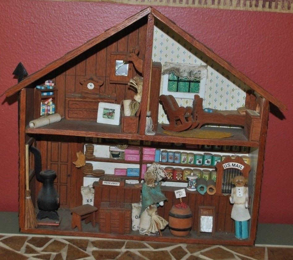 Kitchen Diorama Made Of Cereal Box: Vintage Wood Diorama ENTIRE HOUSE / STORE Shadow Box