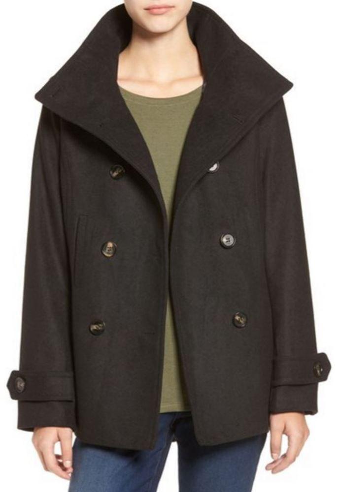 Thread & Supply Double Breasted Peacoat Jacket Coat S Black Nordstrom MSRP $58 #ThreadSUPPLY #Peacoat