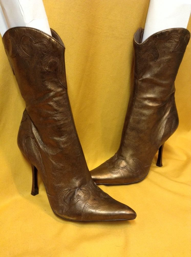 Womens Stiletto High Heels Mid Calf Cowboy Boots With Zip Western Platform Shoes