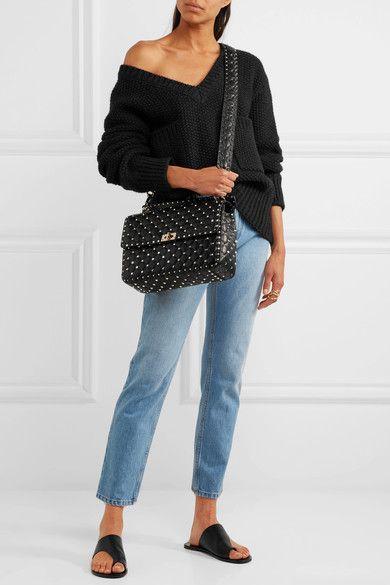ce77e3631b Valentino - Rockstud Spike Large Quilted Leather Shoulder Bag - Black
