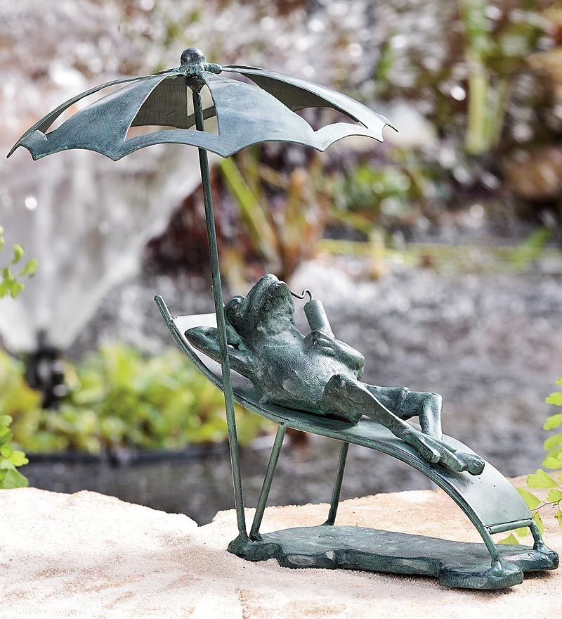Hes on island timeBeach Chair Frog Cast Iron Garden Statue
