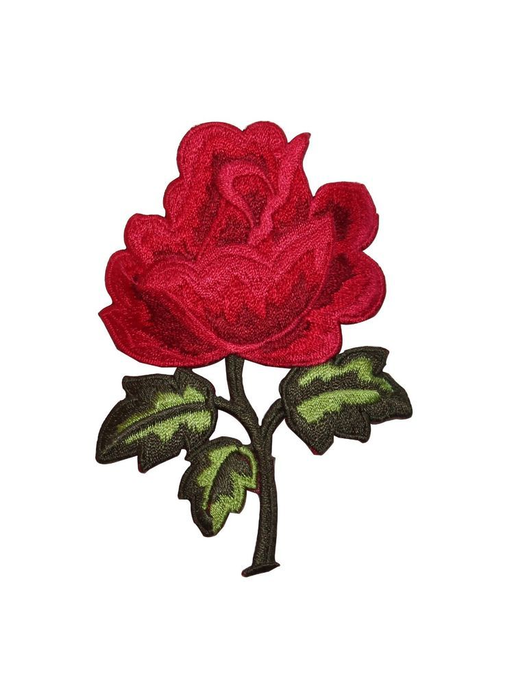 ID #6682 Bright Red Rose Flower Blossom Plant Iron On Embroidered Patch Applique #ID