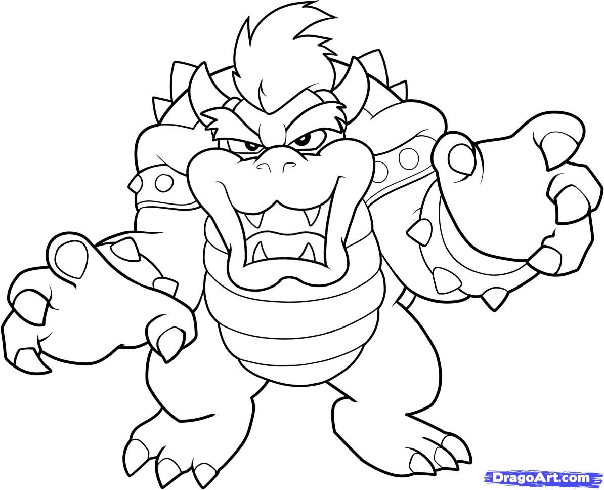 mario bros bowser coloring pages by sharon - Bowser Coloring Pages