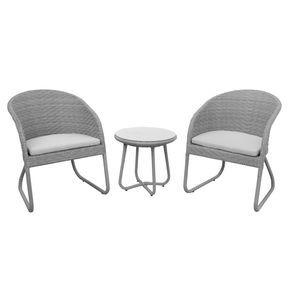 Anndora Susila Polyrattan Balkonset Grau 2 Stuhle Kissen 1 Tisch Sitzgruppe Sitzgruppe Aussenmobel Gartenmobel