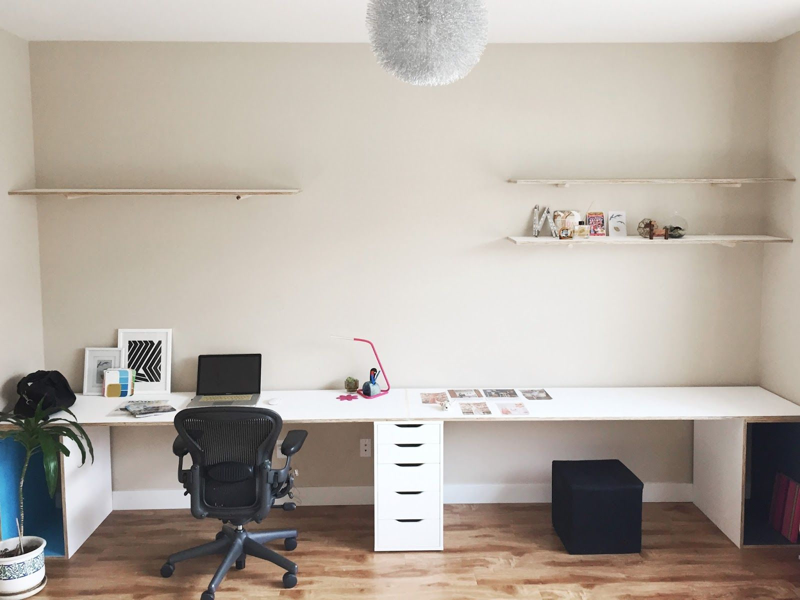 Solution To A Seemingly Never Ending 14 Foot Wall Space A Never Ending Wall Length 14 Foot Plywood Desk Initi Plywood Desk Home Office Storage Bookshelf Desk