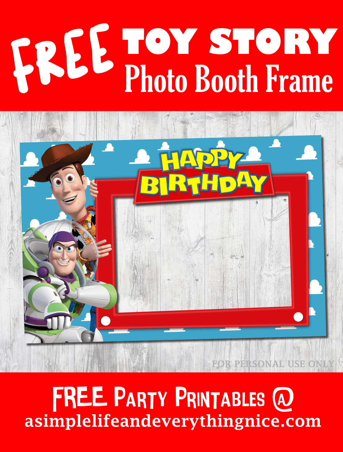 Free Toy Story Happy Birthday Printable Photo Booth Frame | Best of ...