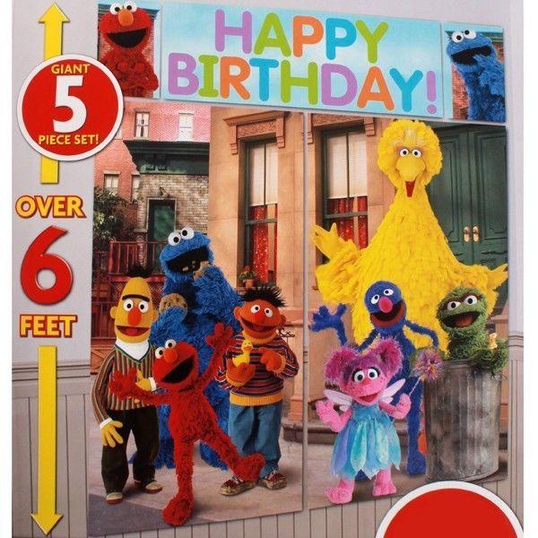 SESAME STREET SCENE SETTER Happy Birthday Party Wall Decor ...