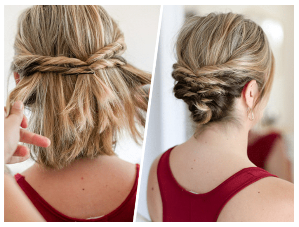 Easy Hairstyles For Short To Medium Length Hair See Mama Go Short Hair Styles Short Hair Updo Short Hair Up