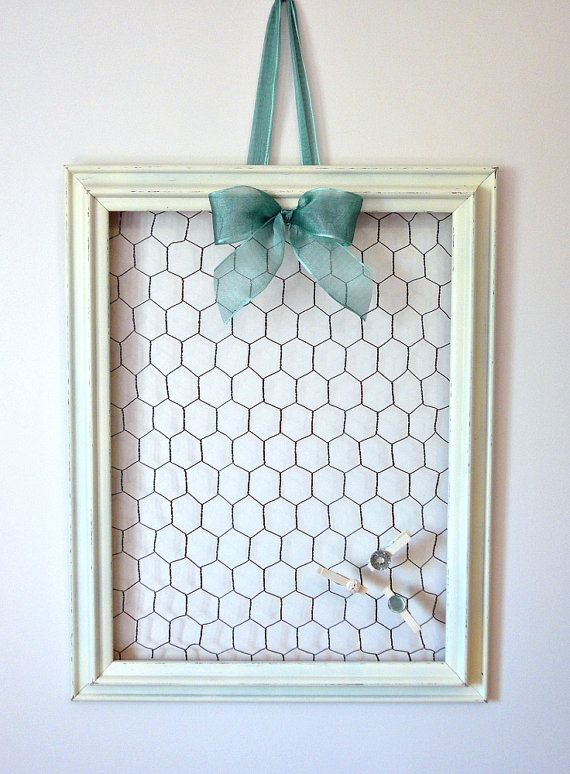 Rustic Chicken Wire Memo Board with Three Mini Clothes Pins - Shabby ...