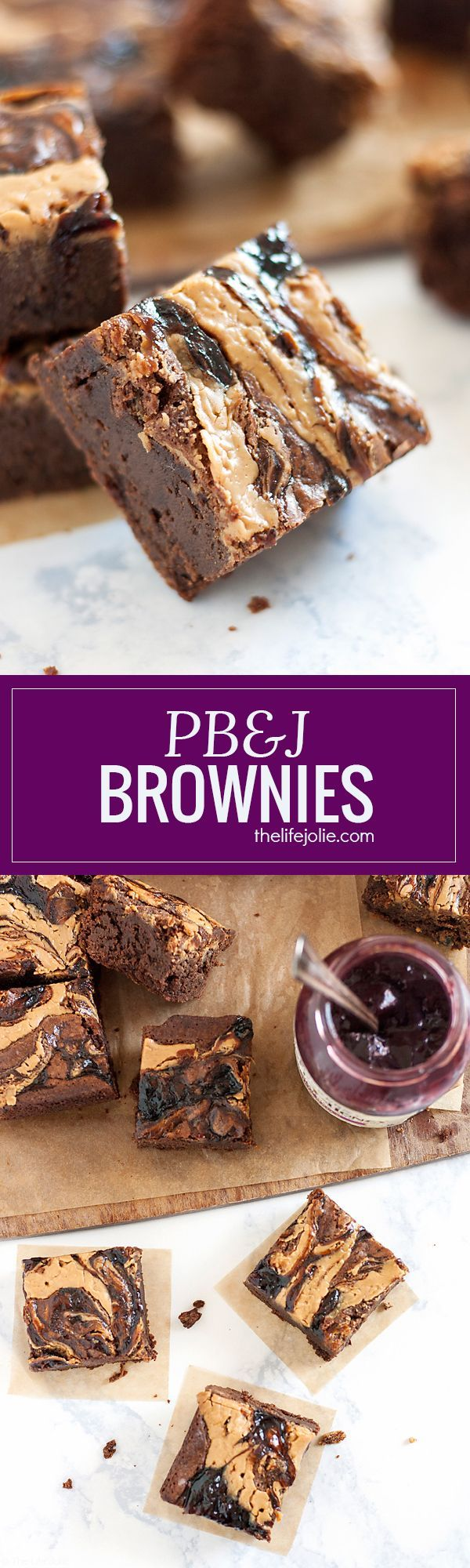 These homemade PB&J Brownies are an easy and delicious holiday dessert option. Chewy, fudgey chocolate brownies with a swirl of peanut butter and the fruit spread of your choice on top, these are made from scratch and would be great on a Thanksgiving of C