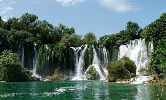 Kravica waterfall also called kravice waterfall near ljubuski bosnia and herzegovina - Crystal pools waterfall ...