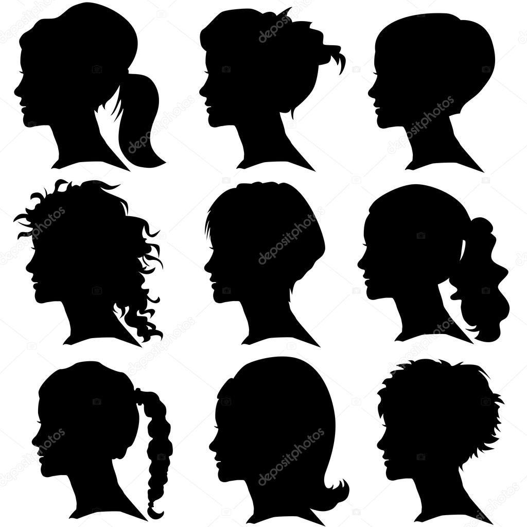 Vector Conjunto De Silueta De Mujer Con Peinado