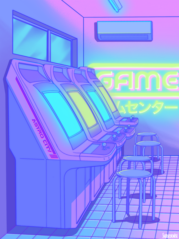 Midnight Arcade Mini Art Print By Surudenise Without Stand 3 X 4 Anime Scenery Wallpaper Aesthetic Pastel Wallpaper Aesthetic Art