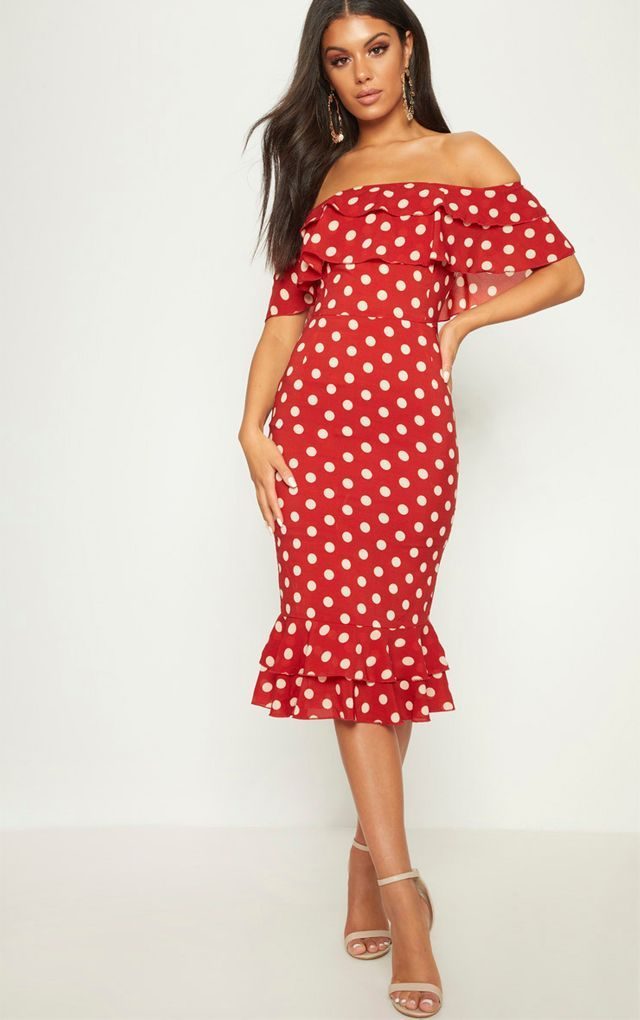 beauty new high quality first look Burnt Orange Polka Dot Chiffon Frill Bardot Midi Dress ...